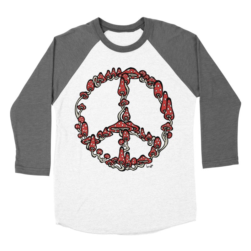 Peace Symbol Made of Mushrooms (red version) Women's Baseball Triblend Longsleeve T-Shirt by brettgilbert's Artist Shop