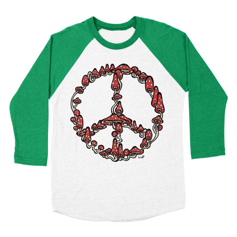 Peace Symbol Made of Mushrooms (red version) Women's Baseball Triblend T-Shirt by brettgilbert's Artist Shop