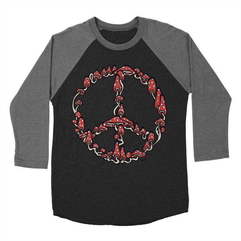 Peace Symbol Made of Mushrooms (red version) Women's Baseball Triblend T-Shirt by brettgilbert's Artist Shop