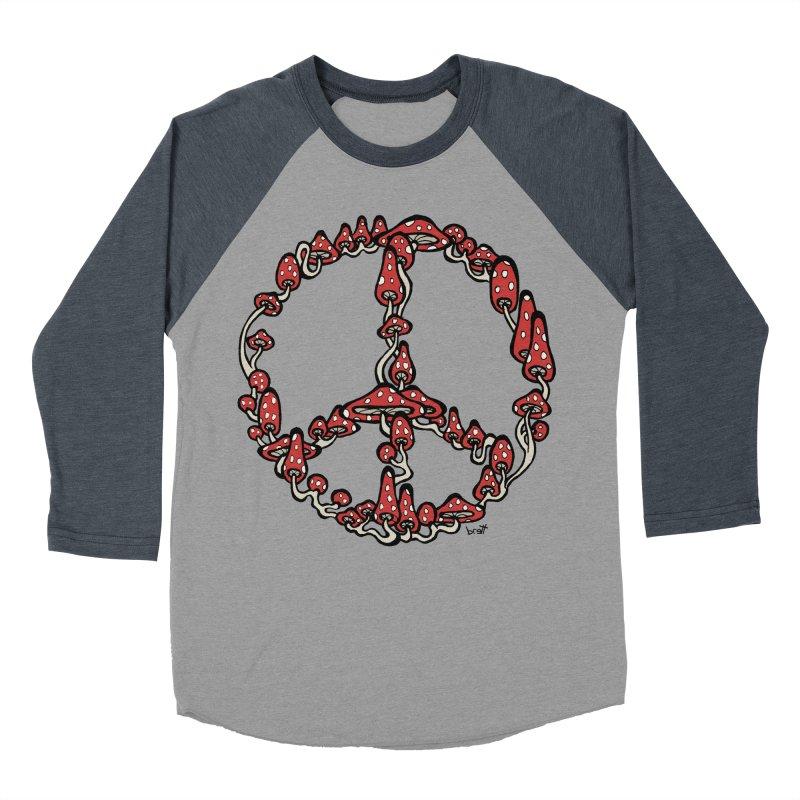 Peace Symbol Made of Mushrooms (red version) Women's Baseball Triblend Longsleeve T-Shirt by brettgilbert's Artist Shop