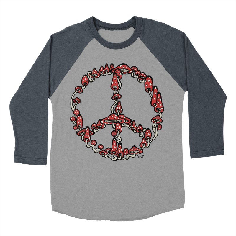 Peace Symbol Made of Mushrooms (red version) Men's Baseball Triblend T-Shirt by brettgilbert's Artist Shop