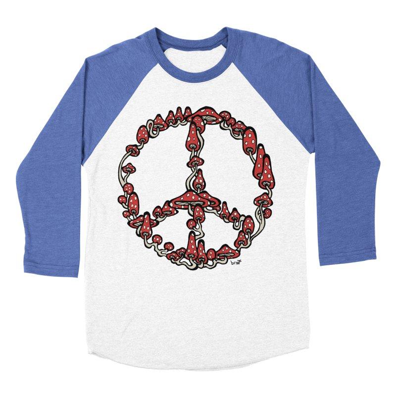 Peace Symbol Made of Mushrooms (red version) Men's Baseball Triblend T-Shirt by brettgilbert's Artist Shop