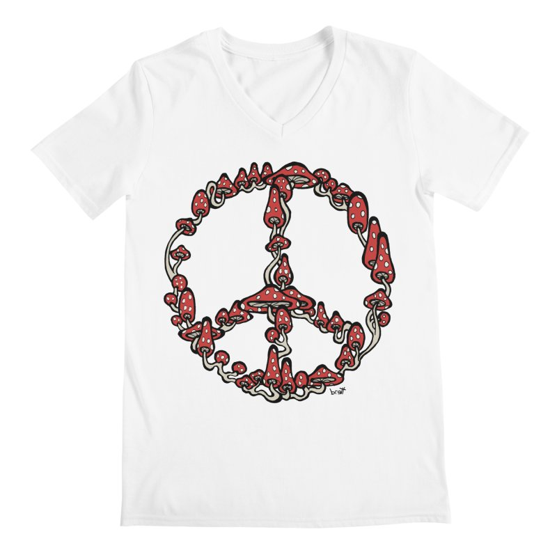 Peace Symbol Made of Mushrooms (red version) Men's V-Neck by brettgilbert's Artist Shop