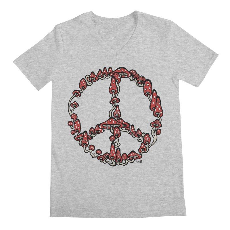 Peace Symbol Made of Mushrooms (red version) Men's Regular V-Neck by brettgilbert's Artist Shop