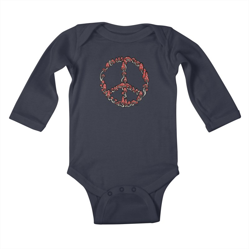 Peace Symbol Made of Mushrooms (red version) Kids Baby Longsleeve Bodysuit by brettgilbert's Artist Shop