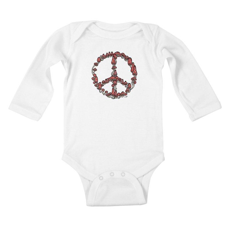 Peace Symbol Made of Mushrooms (red version) Kids Baby Longsleeve Bodysuit by brettgilbert's Artist Shop