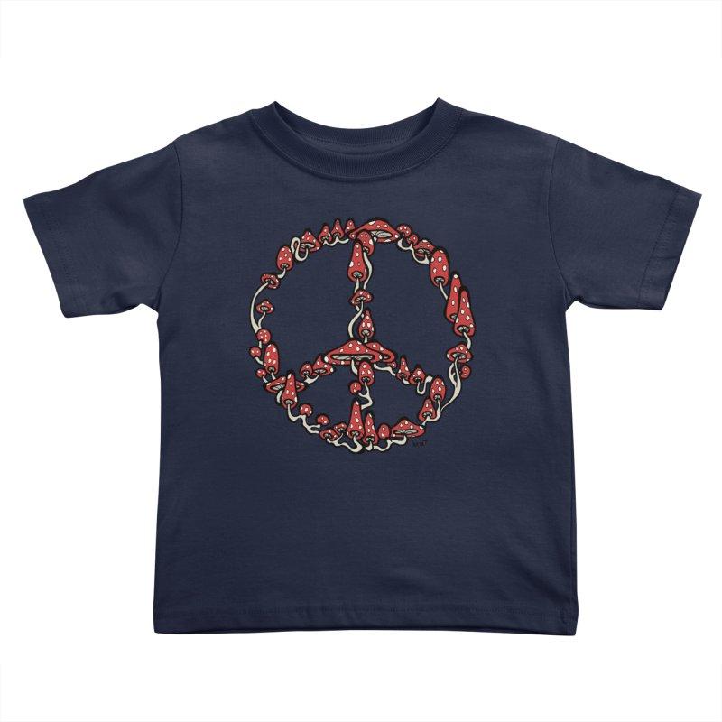 Peace Symbol Made of Mushrooms (red version) Kids Toddler T-Shirt by brettgilbert's Artist Shop