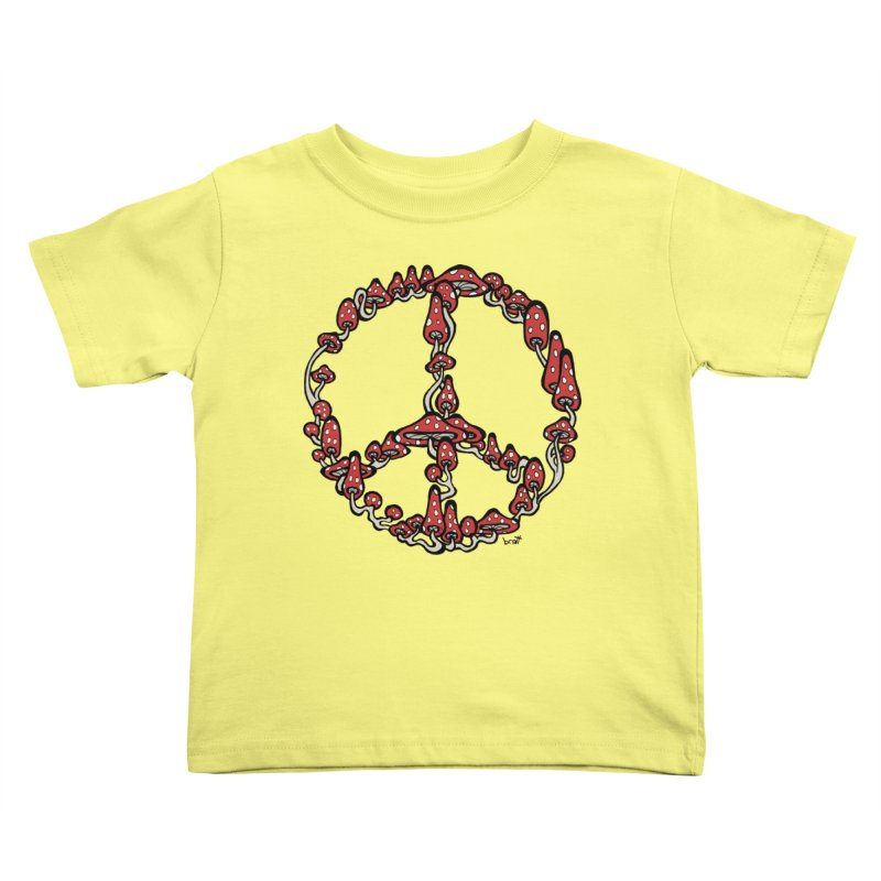 Peace Symbol Made of Mushrooms (red version) Kids Toddler T-Shirt by brettgilbert's Artist Shop