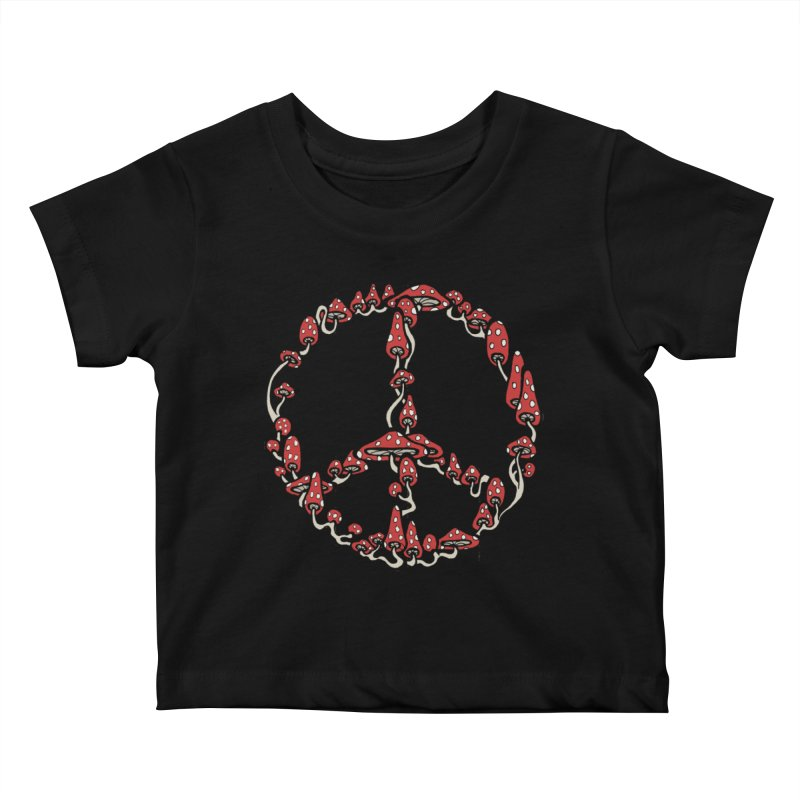Peace Symbol Made of Mushrooms (red version) Kids Baby T-Shirt by brettgilbert's Artist Shop