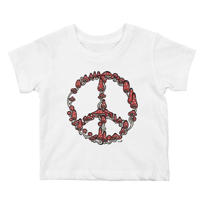 Peace Symbol Made of Mushrooms (red version) Kids Baby T-Shirt by brettgilbert's Artist Shop