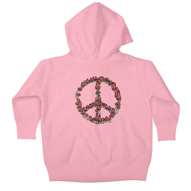 Peace Symbol Made of Mushrooms (red version) Kids Baby Zip-Up Hoody by brettgilbert's Artist Shop