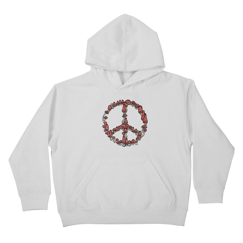 Peace Symbol Made of Mushrooms (red version) Kids Pullover Hoody by brettgilbert's Artist Shop