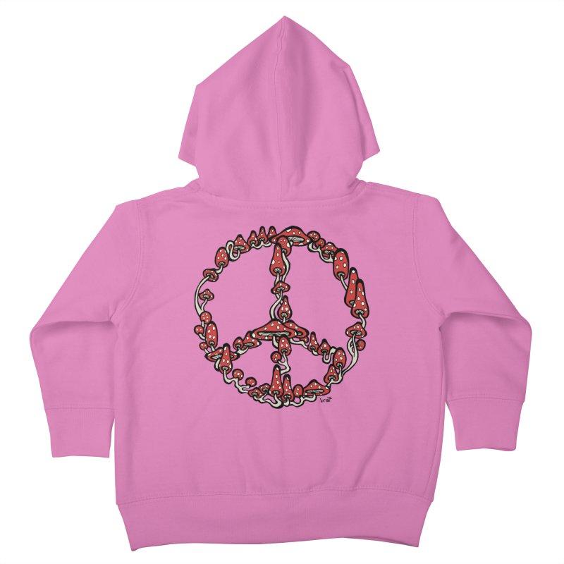 Peace Symbol Made of Mushrooms (red version) Kids Toddler Zip-Up Hoody by brettgilbert's Artist Shop