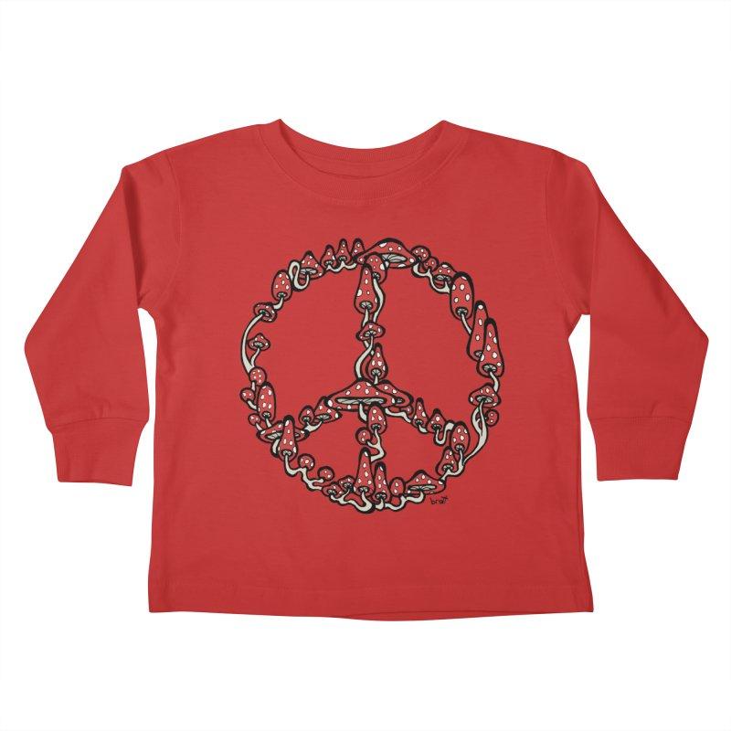 Peace Symbol Made of Mushrooms (red version) Kids Toddler Longsleeve T-Shirt by brettgilbert's Artist Shop