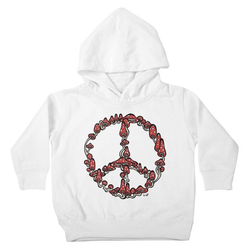 Peace Symbol Made of Mushrooms (red version) Kids Toddler Pullover Hoody by brettgilbert's Artist Shop