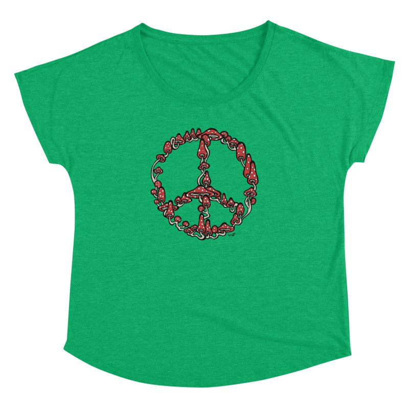 Peace Symbol Made of Mushrooms (red version) Women's Dolman by brettgilbert's Artist Shop