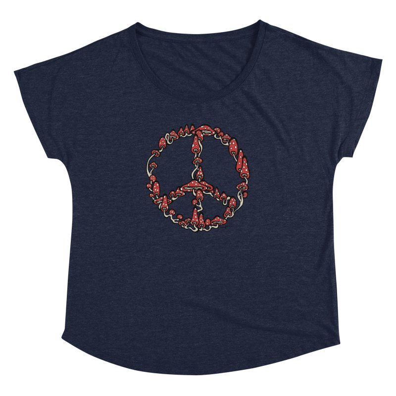 Peace Symbol Made of Mushrooms (red version) Women's Dolman Scoop Neck by brettgilbert's Artist Shop