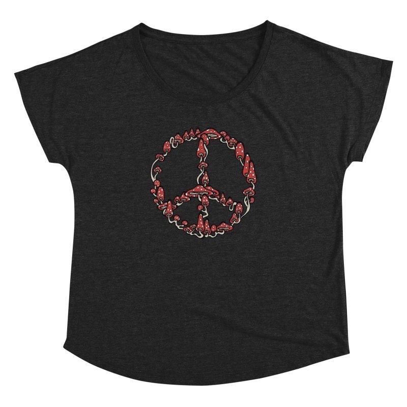 Peace Symbol Made of Mushrooms (red version) Women's Dolman by brettgilbert's Artist Shop