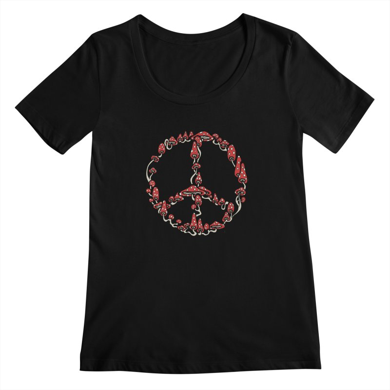 Peace Symbol Made of Mushrooms (red version) Women's Scoopneck by brettgilbert's Artist Shop