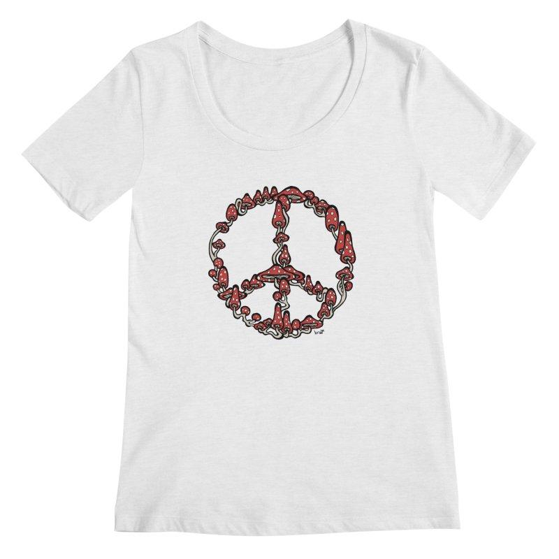 Peace Symbol Made of Mushrooms (red version) Women's Regular Scoop Neck by brettgilbert's Artist Shop