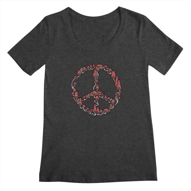 Peace Symbol Made of Mushrooms (red version) Women's Scoopneck by brettgilbert's Artist Shop