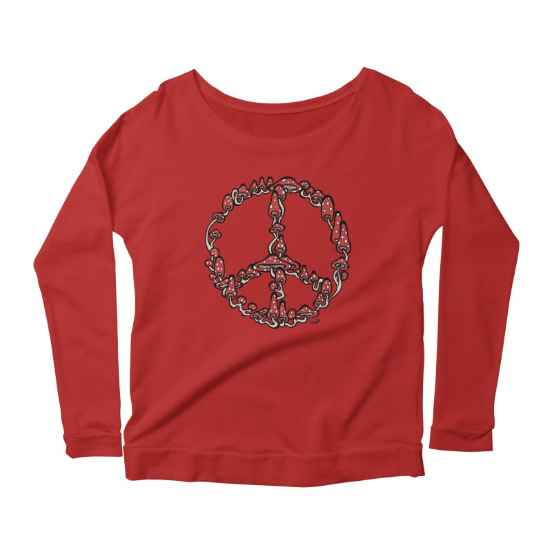Peace Symbol Made of Mushrooms (red version) Women's Longsleeve Scoopneck  by brettgilbert's Artist Shop