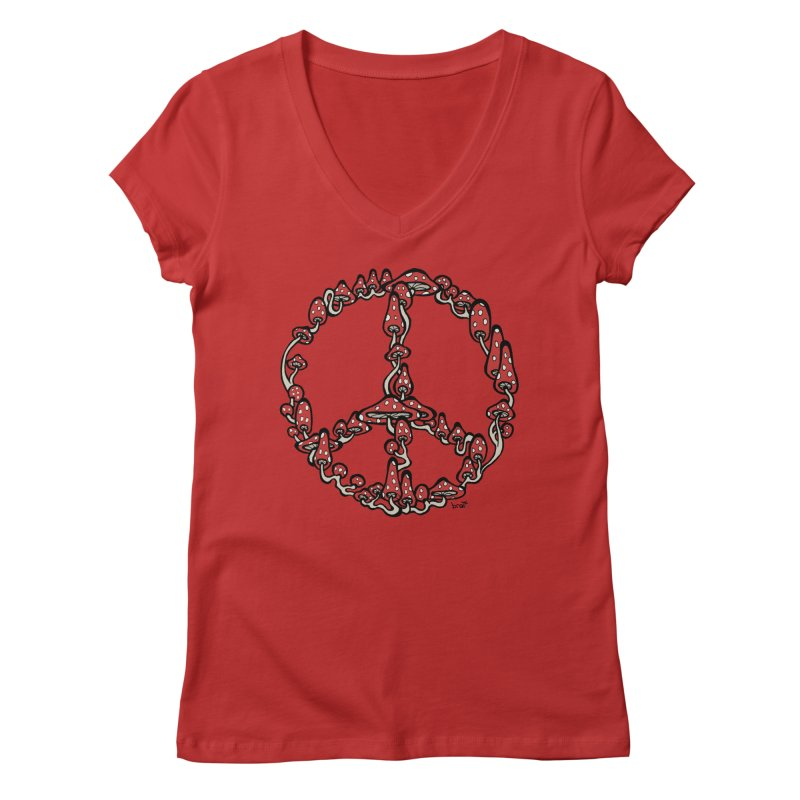 Peace Symbol Made of Mushrooms (red version) Women's V-Neck by brettgilbert's Artist Shop