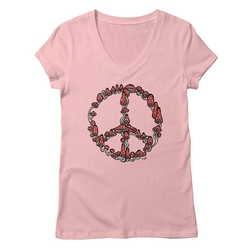 Peace Symbol Made of Mushrooms (red version) Women's Regular V-Neck by brettgilbert's Artist Shop