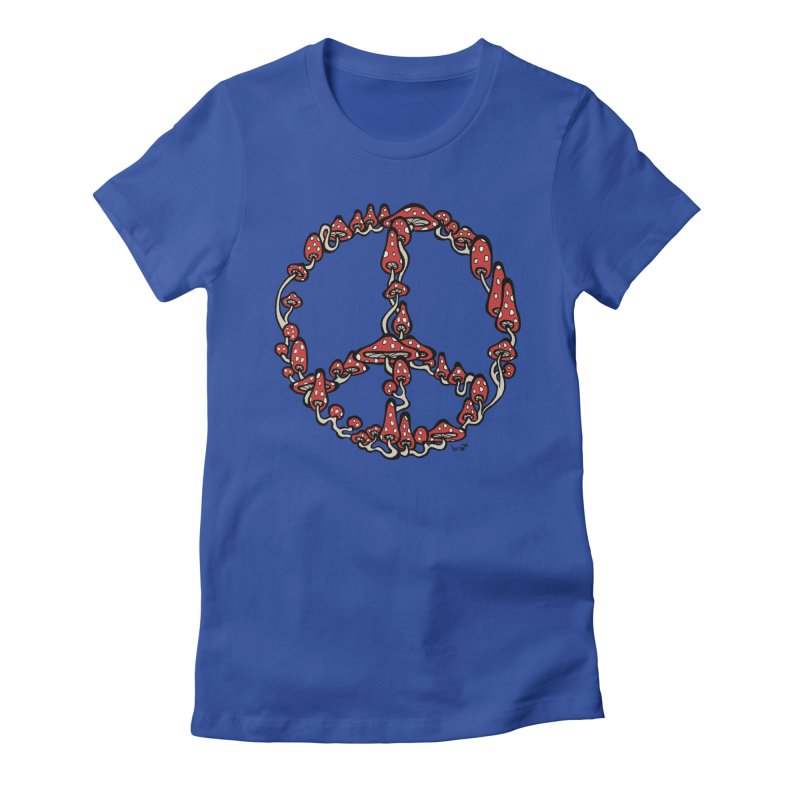 Peace Symbol Made of Mushrooms (red version) Women's Fitted T-Shirt by brettgilbert's Artist Shop