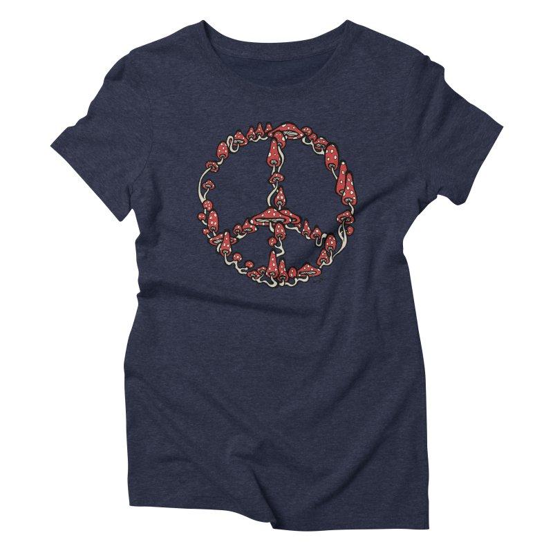 Peace Symbol Made of Mushrooms (red version) Women's Triblend T-Shirt by brettgilbert's Artist Shop