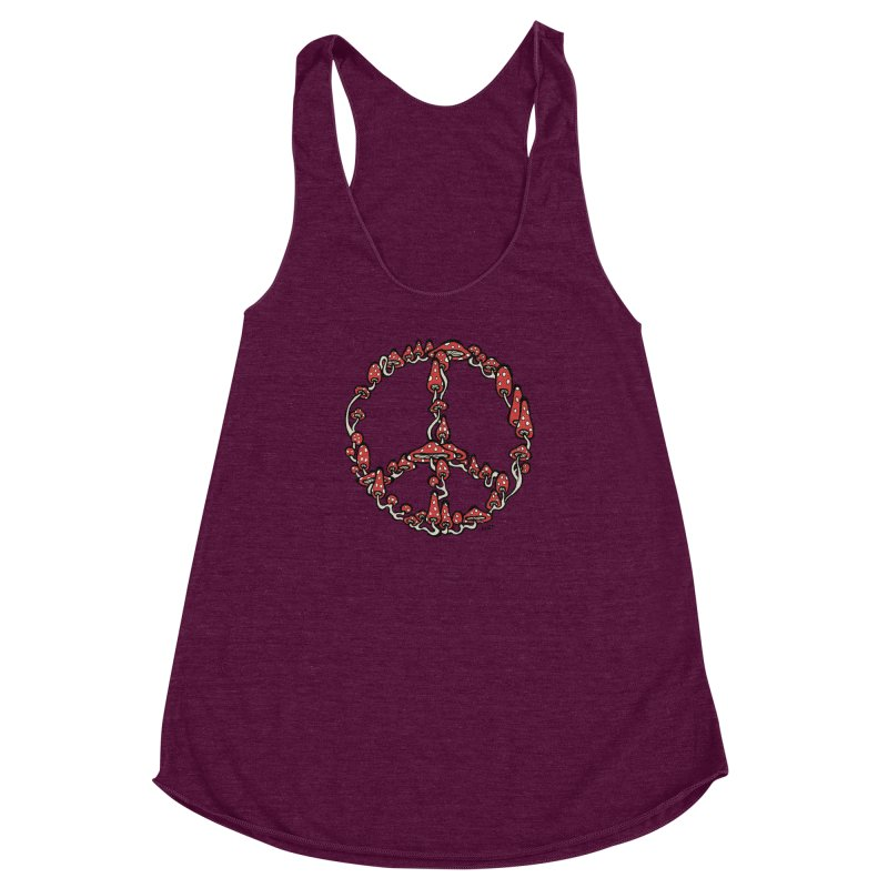 Peace Symbol Made of Mushrooms (red version) Women's Racerback Triblend Tank by brettgilbert's Artist Shop