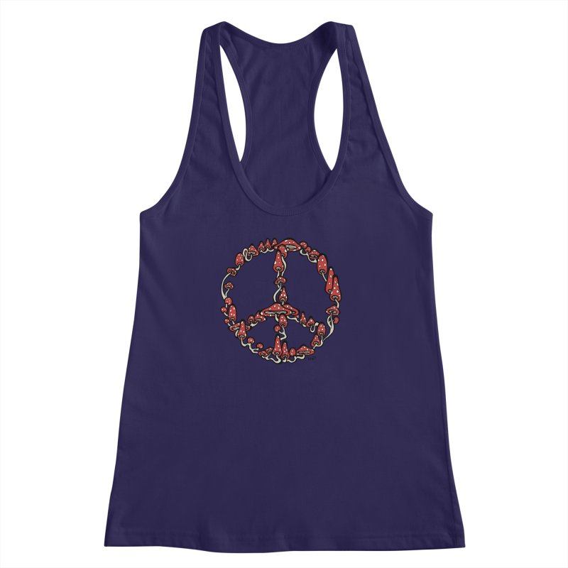 Peace Symbol Made of Mushrooms (red version) Women's Racerback Tank by brettgilbert's Artist Shop