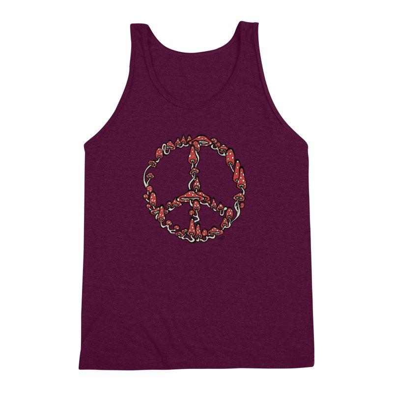Peace Symbol Made of Mushrooms (red version) Men's Triblend Tank by brettgilbert's Artist Shop