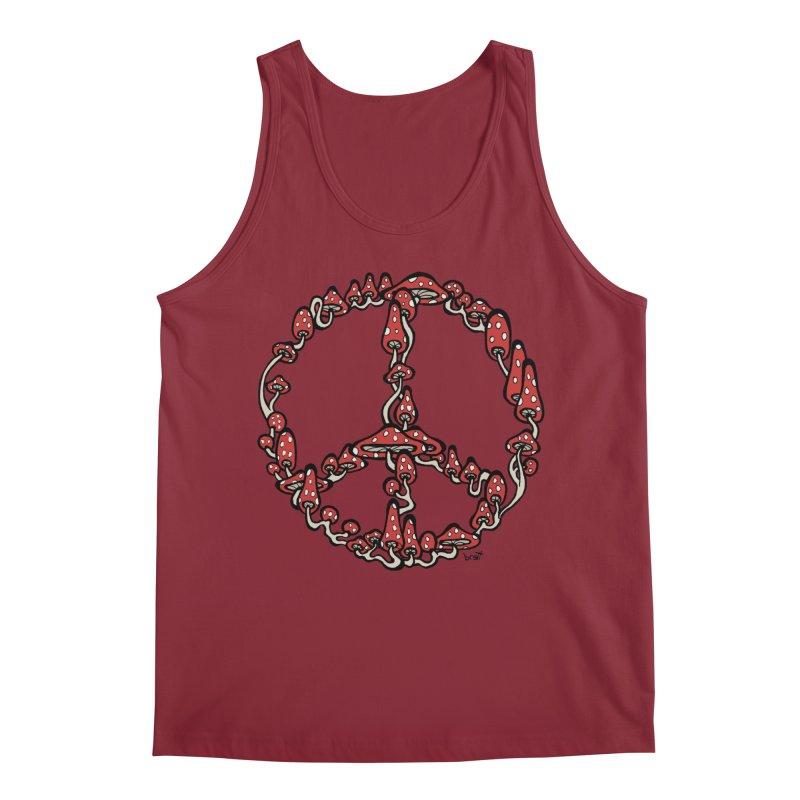 Peace Symbol Made of Mushrooms (red version) Men's Regular Tank by brettgilbert's Artist Shop