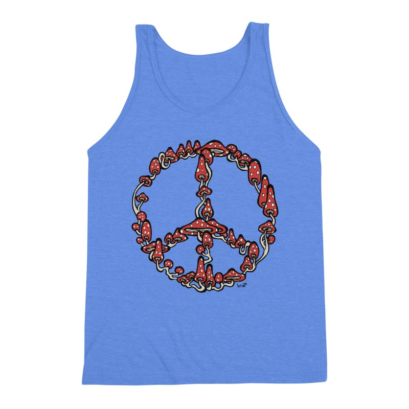 Peace Symbol Made of Mushrooms (red version) Men's Triblend Tank by brettgilbert's Artist Shop