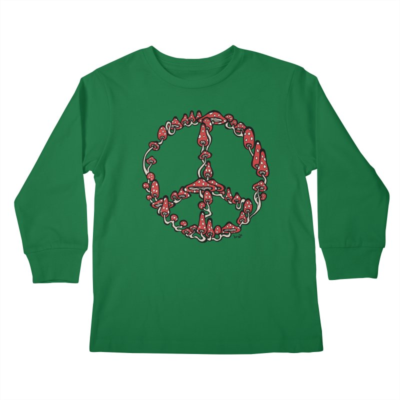 Peace Symbol Made of Mushrooms (red version) Kids Longsleeve T-Shirt by brettgilbert's Artist Shop