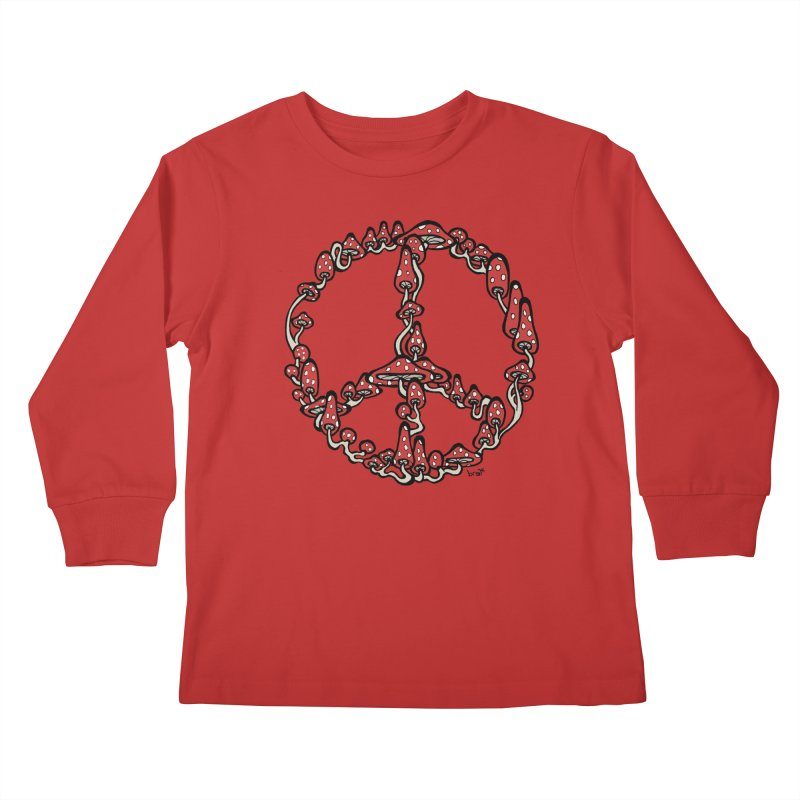 Peace Symbol Made of Mushrooms (red version) Kids Longsleeve T-Shirt by brettgilbert's Artist Shop