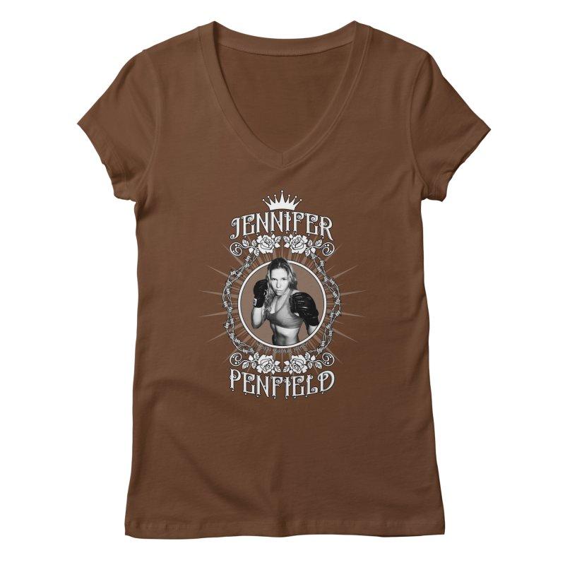 Jennifer Penfield Fighter Tee-Shirt Women's Regular V-Neck by brettgilbert's Artist Shop
