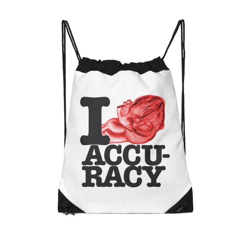 I Heart Accuracy Accessories Drawstring Bag Bag by Brett Jordan's Artist Shop