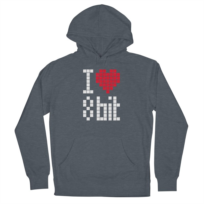 I Love Eight Bit Men's French Terry Pullover Hoody by Brett Jordan's Artist Shop