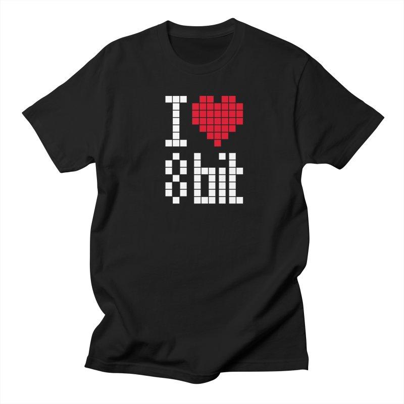 I Love Eight Bit Men's Regular T-Shirt by Brett Jordan's Artist Shop