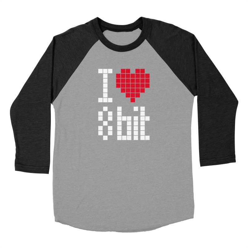 I Love Eight Bit Men's Baseball Triblend Longsleeve T-Shirt by Brett Jordan's Artist Shop