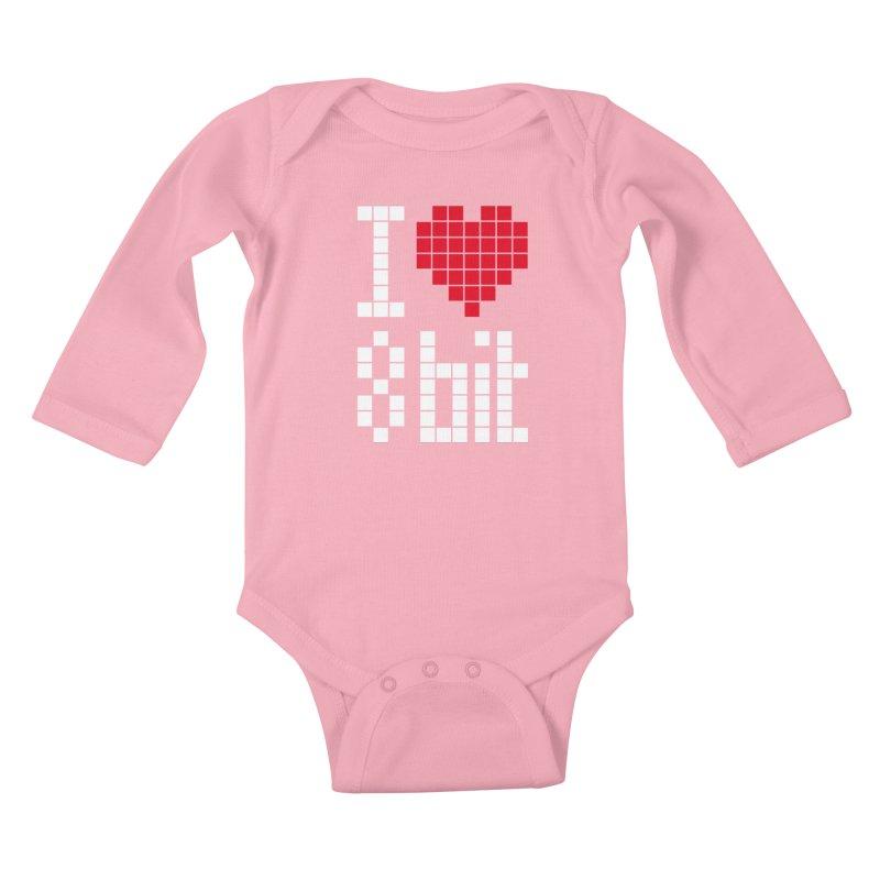 I Love Eight Bit Kids Baby Longsleeve Bodysuit by Brett Jordan's Artist Shop