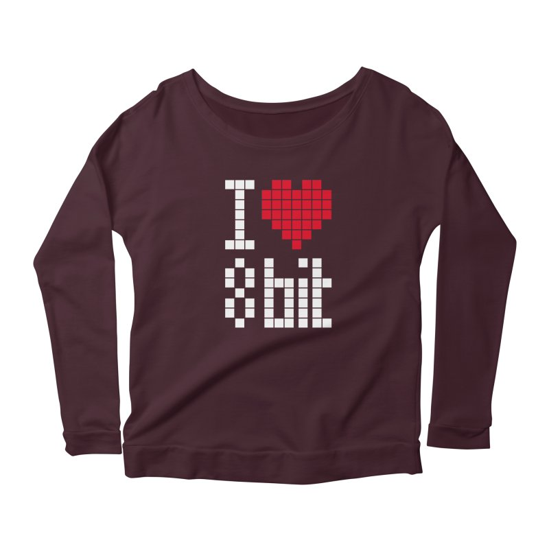 I Love Eight Bit Women's Scoop Neck Longsleeve T-Shirt by Brett Jordan's Artist Shop