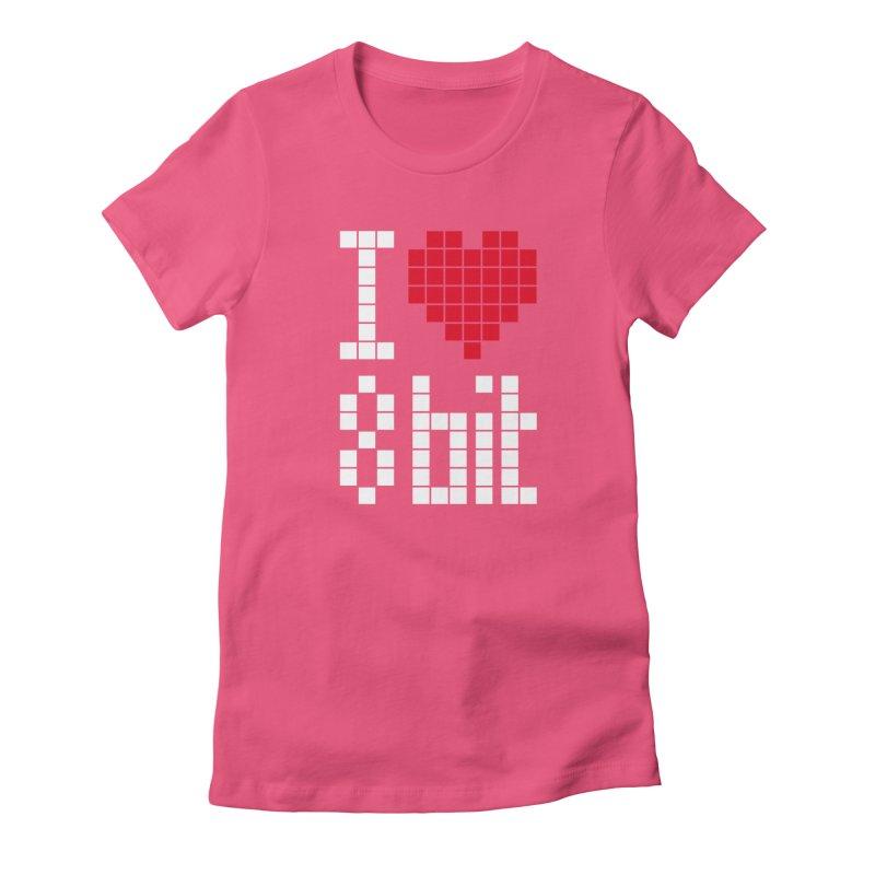 I Love Eight Bit Women's Fitted T-Shirt by Brett Jordan's Artist Shop