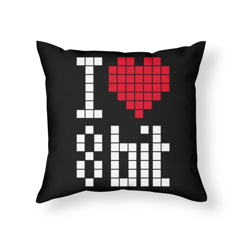 I Love Eight Bit Home Throw Pillow by Brett Jordan's Artist Shop
