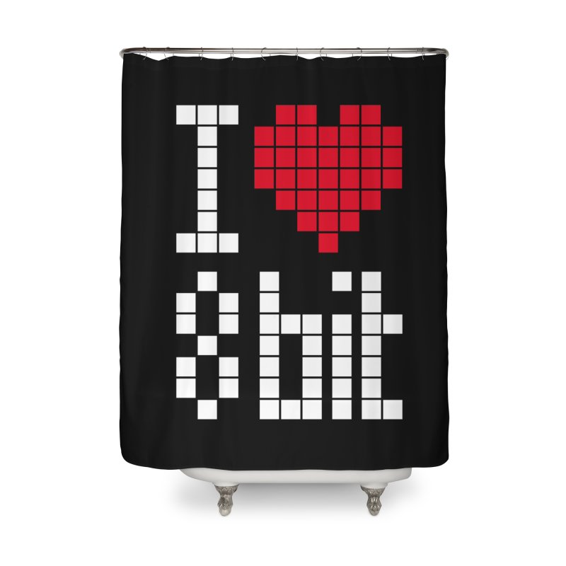I Love Eight Bit Home Shower Curtain by Brett Jordan's Artist Shop