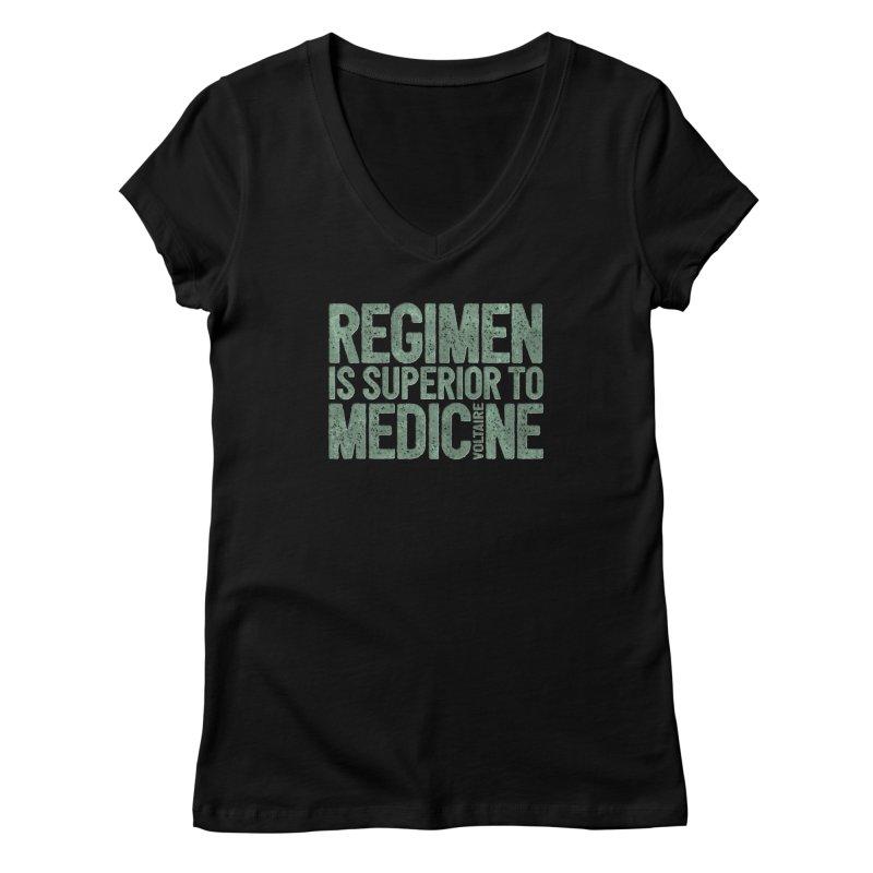 Regimen is superior to medicine Women's V-Neck by Brett Jordan's Artist Shop