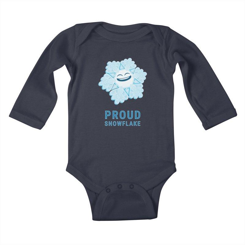 Proud Snowflake Kids Baby Longsleeve Bodysuit by BRETT WISEMAN