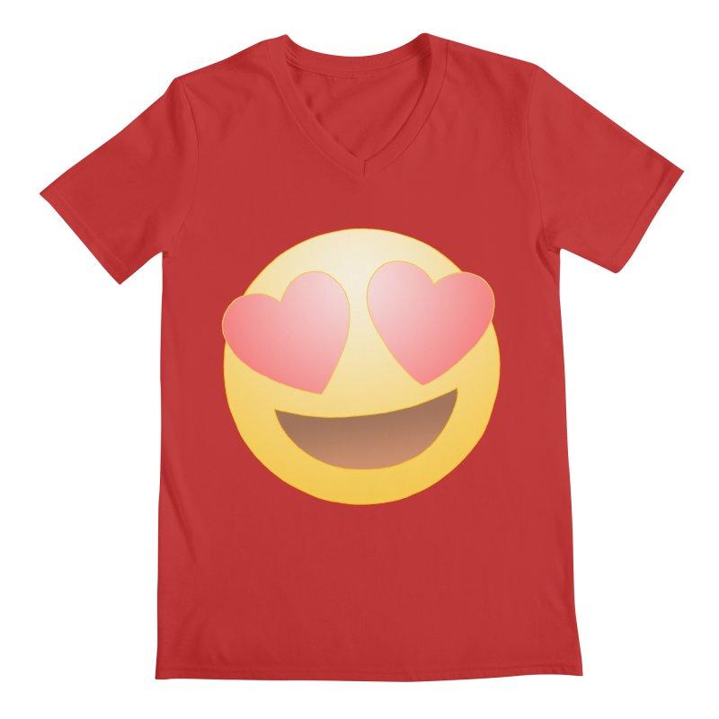 Emoji in Love Men's V-Neck by BRETT WISEMAN